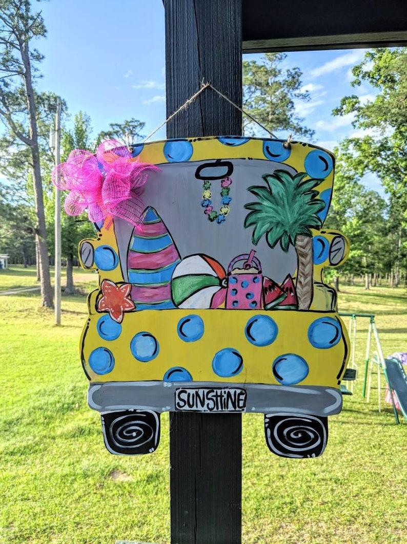Porch Decor Summer Door Hanger Summer Door Decor Beach Decor Truck Door Hanger Summertime Beach Door Hanger