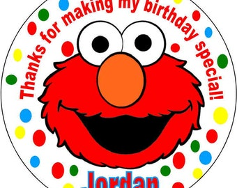 40 Printed Elmo Baby 1st Sesame Street Theme Birthday Party Stickers 2 Inch Round Personalized Kids