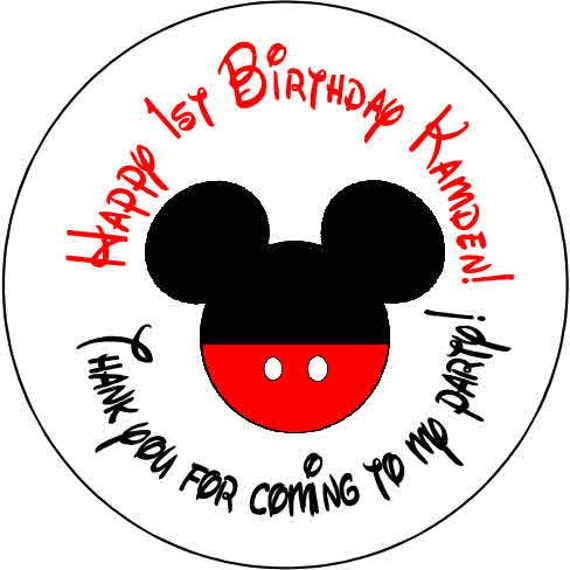 24 PERSONALIZED BABY MICKEY MOUSE BIRTHDAY PARTY FAVOR LABELS STICKERS 1.67/""