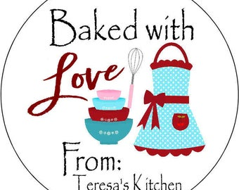 12 printed Stickers 2.5 inch Round Personalized baking bake food labels stickers custom food prep