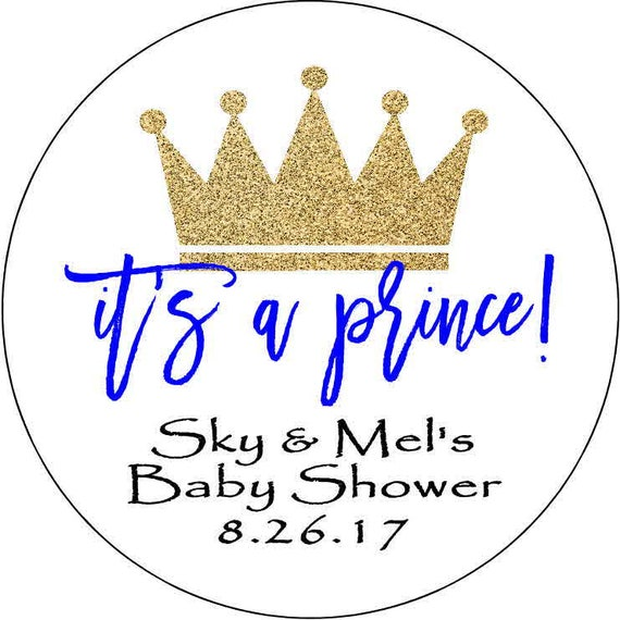 12 stickers 2.5 Inch Personalized shower birthday crown prince boy gold birthday