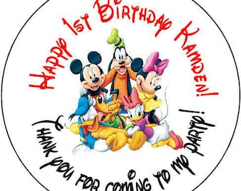 24 printed mickey mouse  clubhouse Theme Birthday Party Stickers 1.67 inch Round Personalized kids
