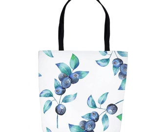 829a42fe80 Blueberries Summer Tote Bag, Large 16