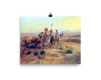 Russell Indian Horses Western Wall Picture Art Print