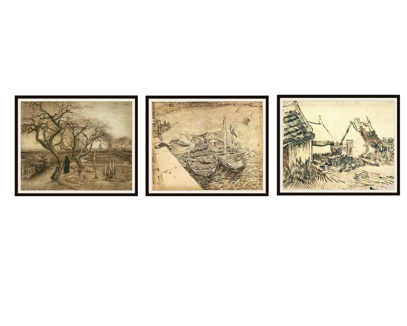 Set Of 3 Vincent Van Gogh Fine Art Sketches Reproductions Print Posters Unframed 8 X 10