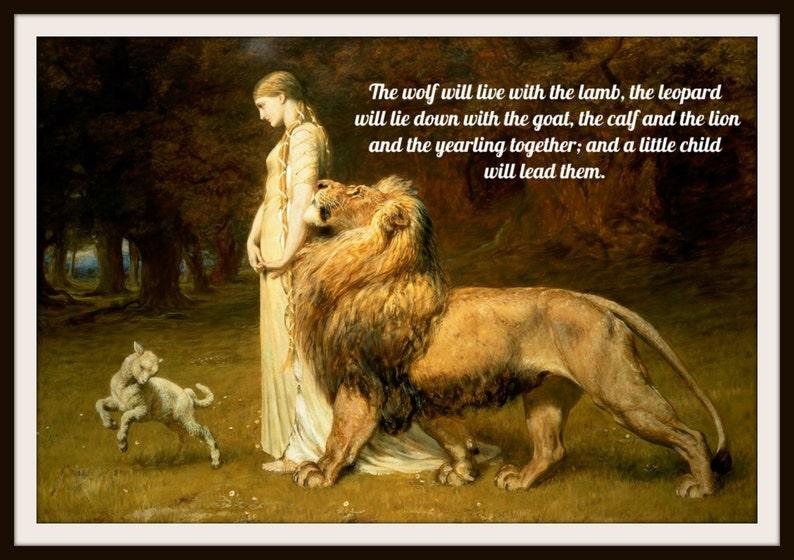 Vintage Art Print Lion and Lamb Wall Decor 8 x image 0