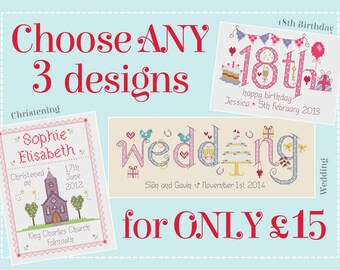 Any 3 Patterns for 15 GBP - Customisable Cross Stitch Chart PDF Patterns