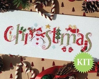 Christmas Cross Stitch Printed PATTERN or KIT