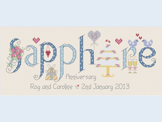 Sapphire 45th Wedding Anniversary Customisable Cross Stitch Etsy