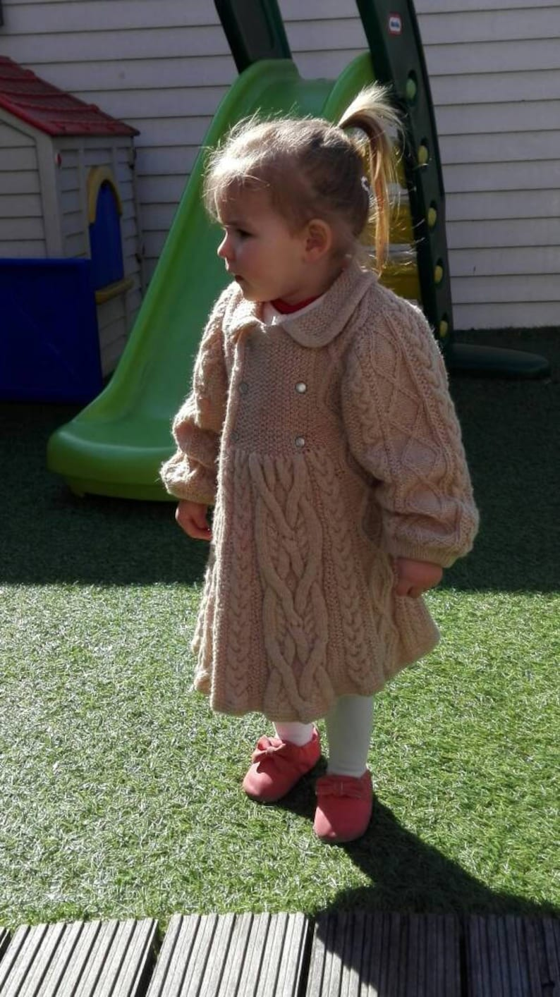Knitting pattern cable jacket for little princeses from 12 to image 0