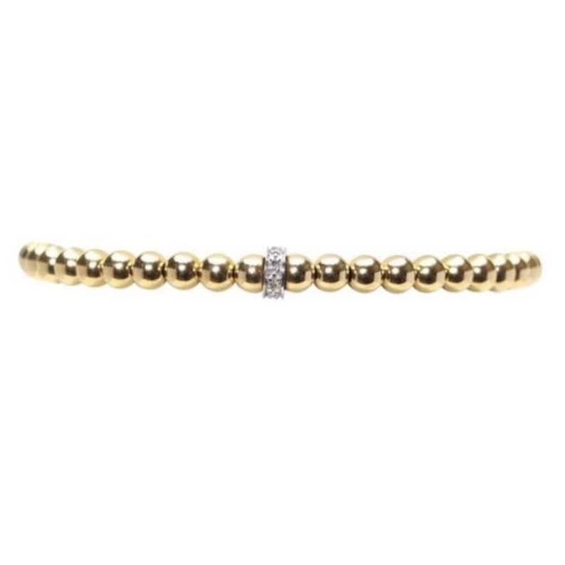Karen Lazar Diamond Rondelle 3 mm Yellow Gold Filled Bead Flex Bracelet