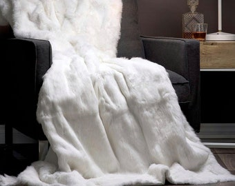 White Rabbit Fur Blanket, Fur Throws F982