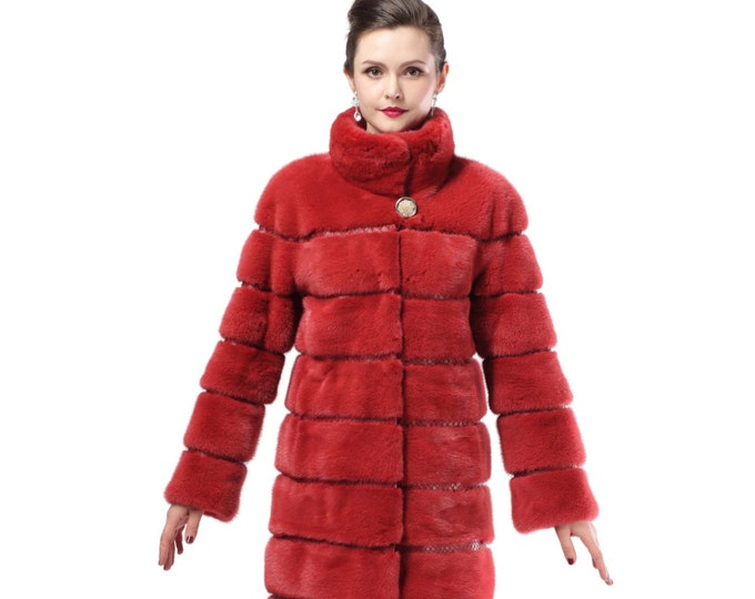 Red Winter Fur Coat,Warm Fur Coat F481