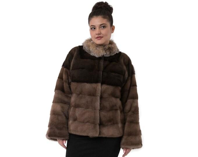 Casual brown fur with Fox collar F863
