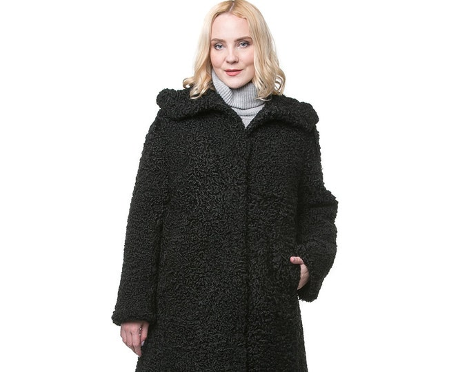 Real Karakul Fur with Hood Jacket F1002