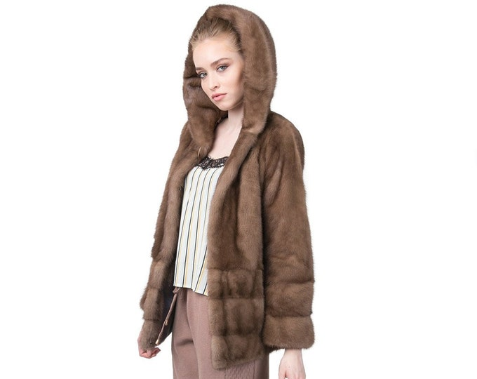 Warm Fur Jacket ,Real Fur Mink Jacket with Hood