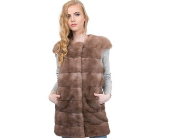 Fur mink Vest,Long Sleeveless jacket F1016