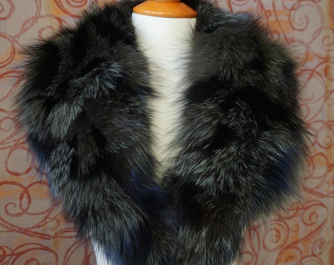 Large BlackOlive Fox Fur Collar F1015