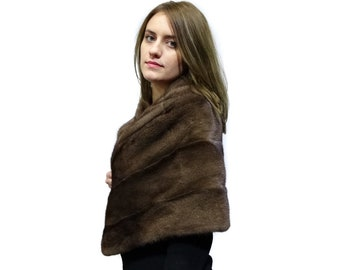 Luxury large mink fur brown stole F429
