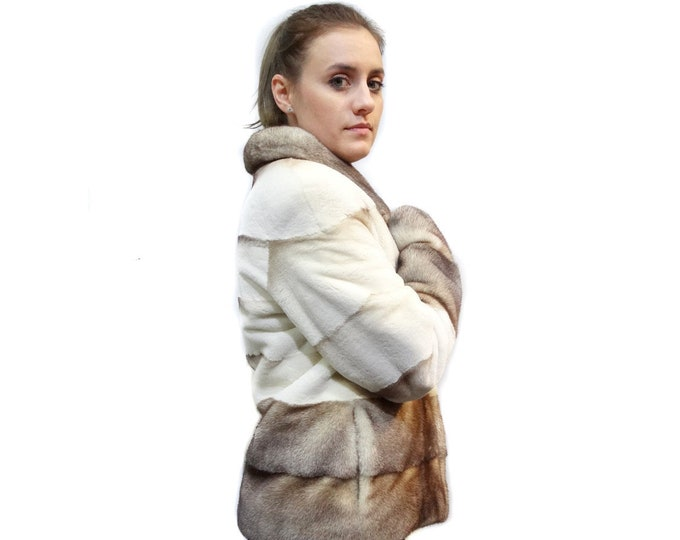 Winter Fur Jacket, Goldwhite Fur Sheared Mink Pelt F176