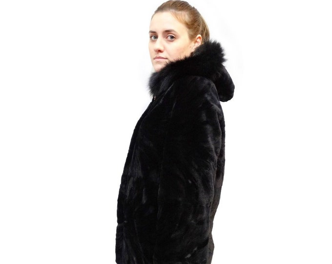 Black Hooded Fur,Sheared Hooded Coat F489
