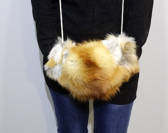 Red fox fur muff to warm hands with hidden pocket F155