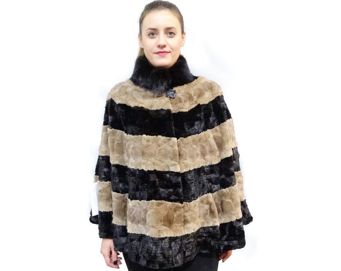 Sheared fur cape, Plus size fur cape F439