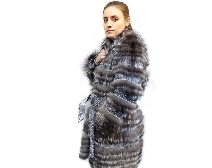 Feathered Fox Fur,Light Fabric Coat,Handmade fur coat F157
