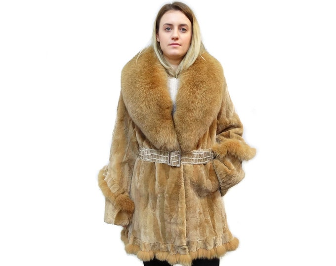 Beaver Fur Coat,Sheared Beaver Coat with Big Fox Collar F490