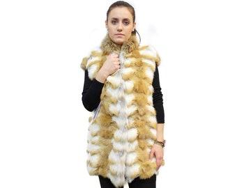 Real Fur Fox Vest,Sleeveless Jacket F422