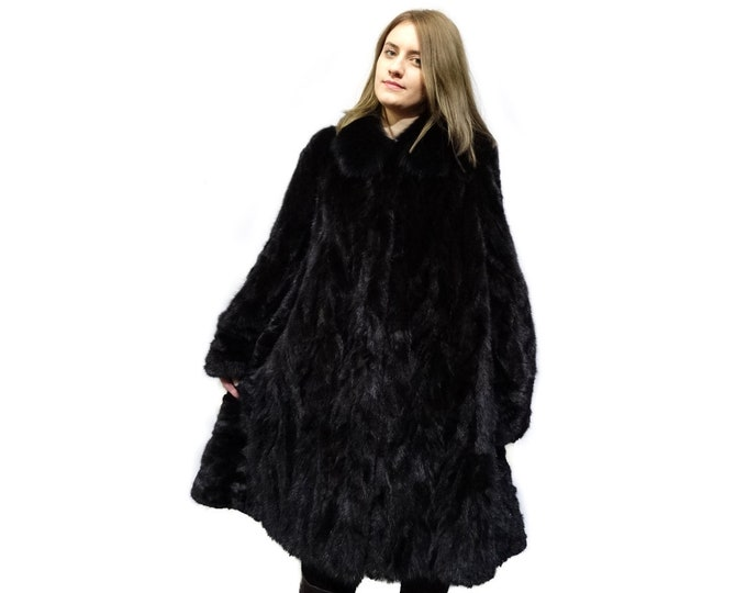 Plus Size Fur Coat,Black Woman Fur Coat F280