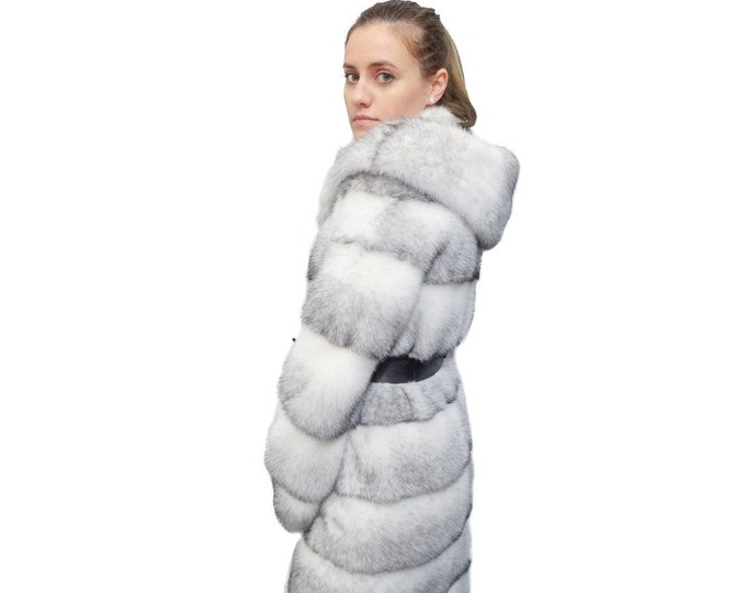 Woman Hooded Fur Coat,Black Cross fur Coat