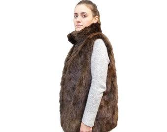 Plus Size Vest,Beaver Fur