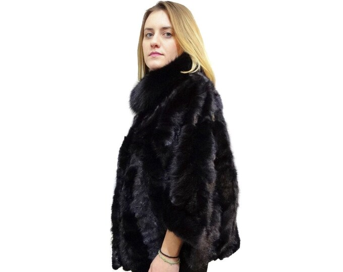 Fur Mink Cape With Fox Collar