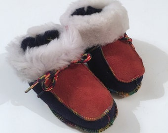 Genuine shearling slippers for babies, Leather babies shoes F467