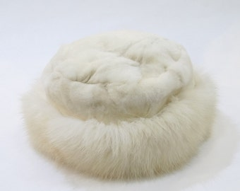 White Fox and Mink Fur Winter Hat  F520
