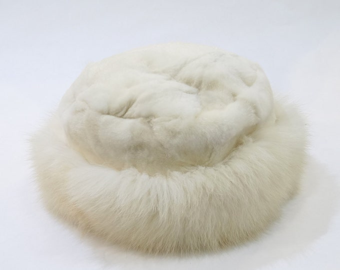 White Fox and Mink Fur Winter Hat  F520