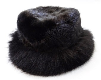 Black Classic Hat, Real Fox and Mink Fur Hat F516