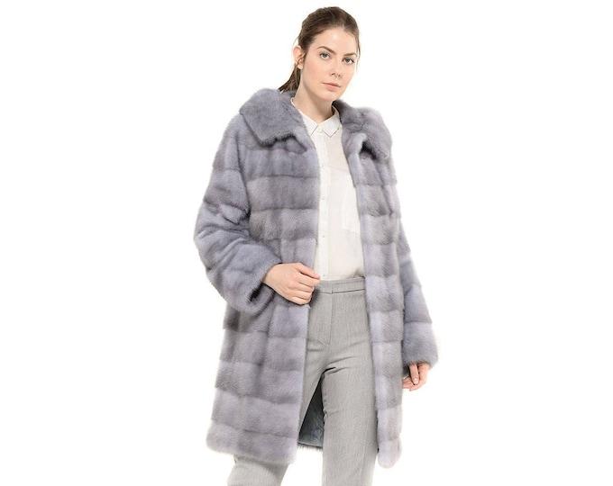 Mink Fur Coat With Hood F848