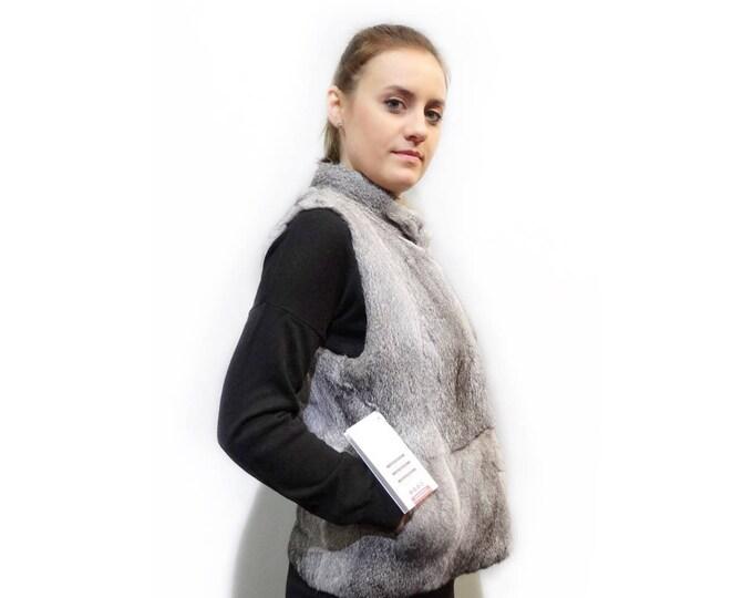 Real Rex Rabbit Fur Vest,Fashion Vest,Grey Fur Vest F292
