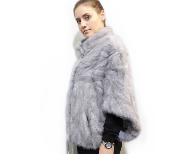 Beautiful Fur Bolero,Winter Gray Fur Cape F295