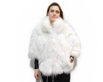 Fox Fur Cape, White Fox Fur Coat,Fashion Cape F327