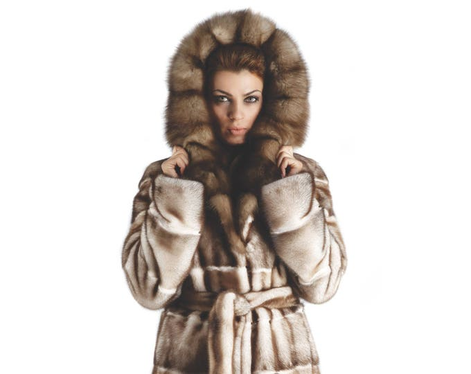 Mink Coat with Fur Marten Hood and Belt,Special Woman Coat F366