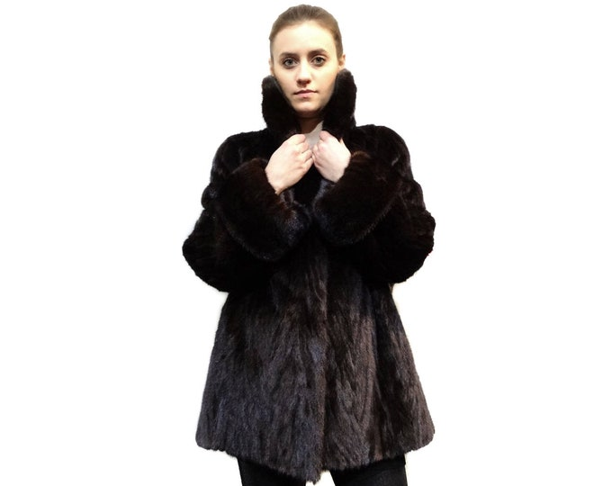 Mink Jacket with Big collar Full Skin Mink and cuffs