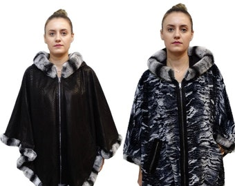 Double Faced Leather Poncho Cape