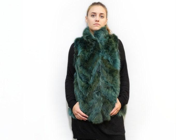 Fur Vest,Real Fox Fur Vest,Ideal for Leather Jacket F315