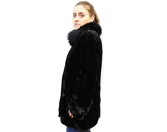Real Mink Fur,Black Fox Collar on Mink Coat F488