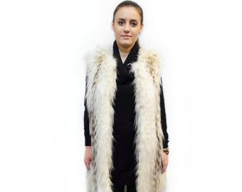 Fur fox feathered vest, Long fur vest, Sleeveless Vest F419