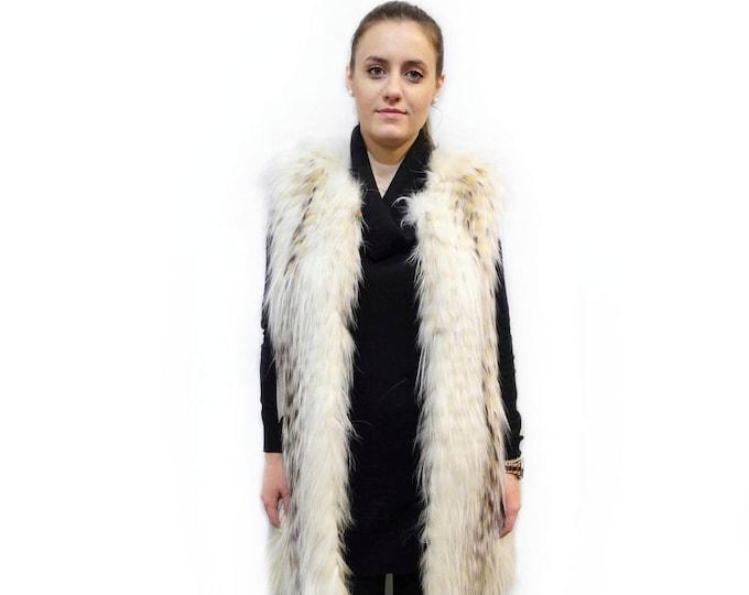 Fur fox feathered vest, Long fur vest, Sleeveless Vest F419
