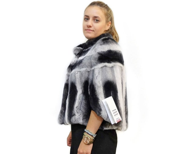 Rex Rabbit Fur Poncho,Bat Sleeve Fur F403